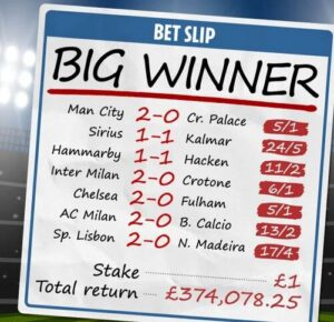 Punter wins 374k due to last minute results